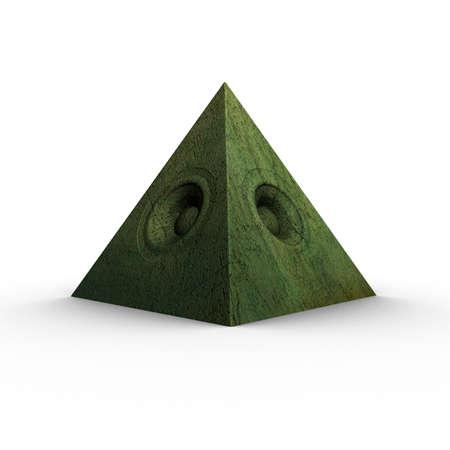 soundsystem: 3d green pyramid grunge old speaker sound system Stock Photo