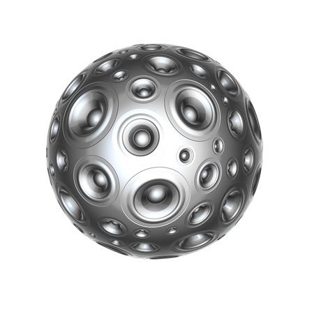 sono: 3d syst�me aluminium haut-parleur sonore sur blanc
