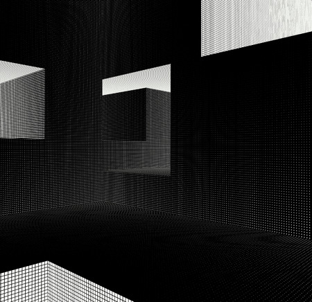 luminance: labyrinth interior with grid pattern in black and white Stock Photo