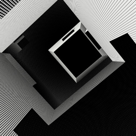 lost in space: labyrinth interior with grid pattern in black and white Stock Photo
