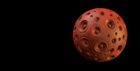 sound system: 3d red speaker sound system planet over black