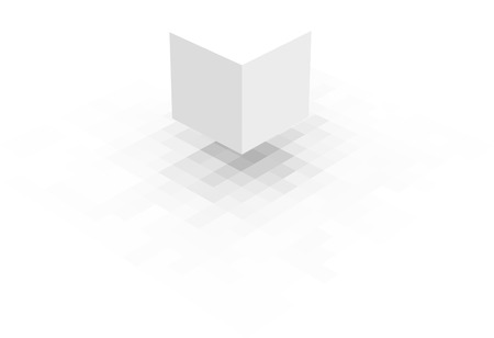 sober: floating white cube with pixel shadow over white Illustration