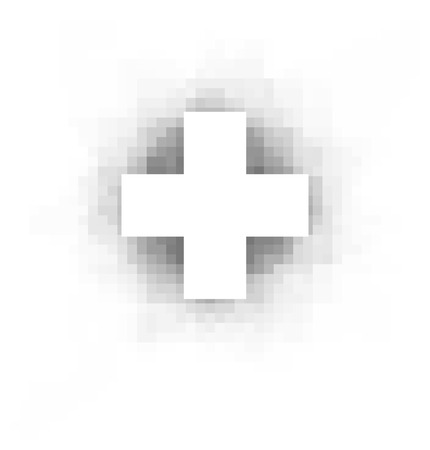 sober: white cross with pixel shadow over white