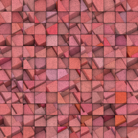 fragmentation: 3d abstract mosaic with pink cube pattern