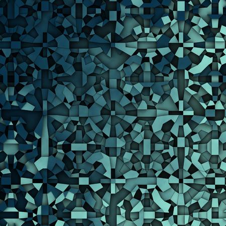 fragmentation: abstract fragmentation geometric in blue backdrop Stock Photo