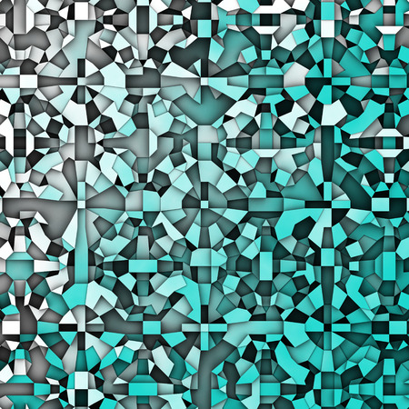 3d abstract fragmentation geometric in blue white Stock Photo