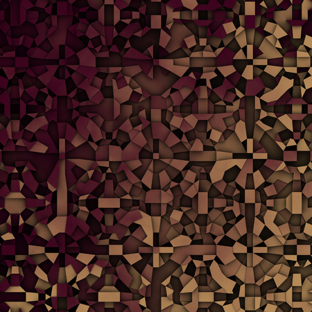 fragmentation: 3d abstract fragmentation geometric in beige and deep red