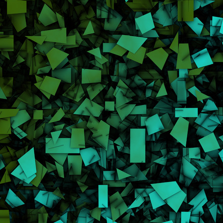 3d abstract fragmentation geometric in blue green Stock Photo