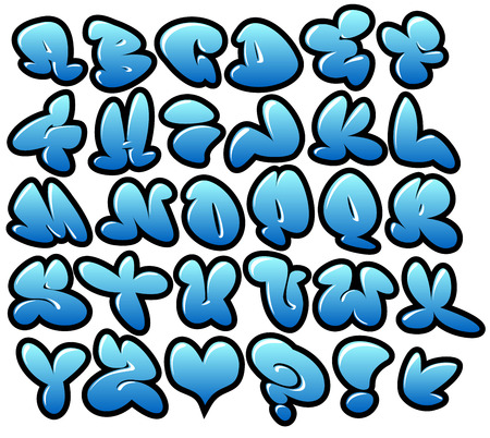 tagging: graffiti bubble blue vector fonts with gloss and outline