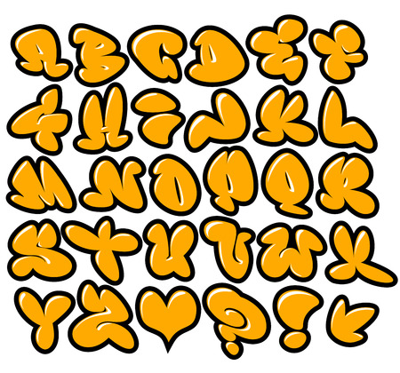 tagging: graffiti bubble vector fonts with gloss and outline variation