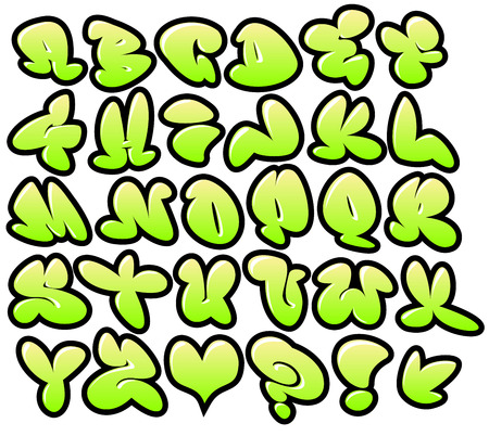 graffiti bubble vector fonts with gloss and outline lemon variation Reklamní fotografie - 39099286
