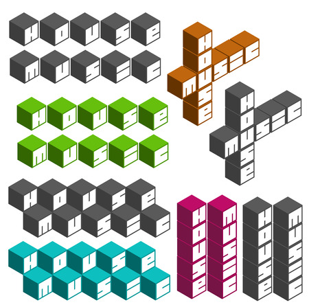 music fonts: house music party cubic square fonts in different colors Illustration