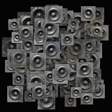 soundsystem: grunge gray party speaker woofer on black