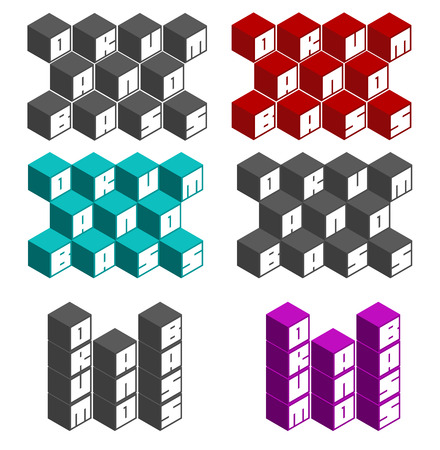 drum and bass: drum and bass cubic square fonts in different colors