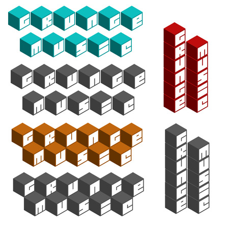 music fonts: grunge music cubic square fonts in different colors