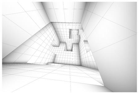 caged: 3d futuristic labyrinth shaded vector interior illustration