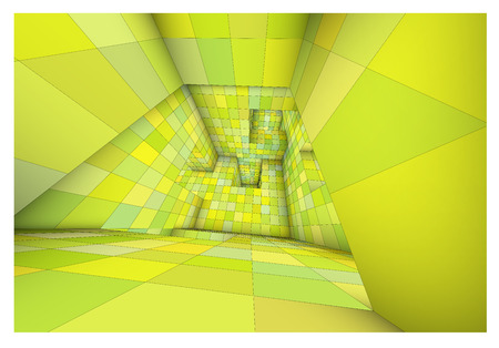 caged: 3d futuristic labyrinth green shaded vector interior illustration Illustration