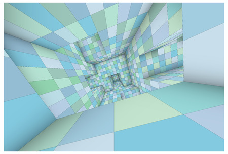 lost in space: 3d futuristic labyrinth green blue shaded vector interior illustration