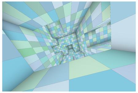 caged: 3d futuristic labyrinth green blue shaded vector interior illustration