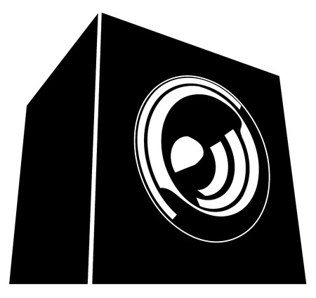 sound-system speaker illustration icon in black and white