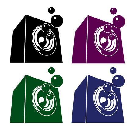 bubbling sound-system speaker illustration icon set