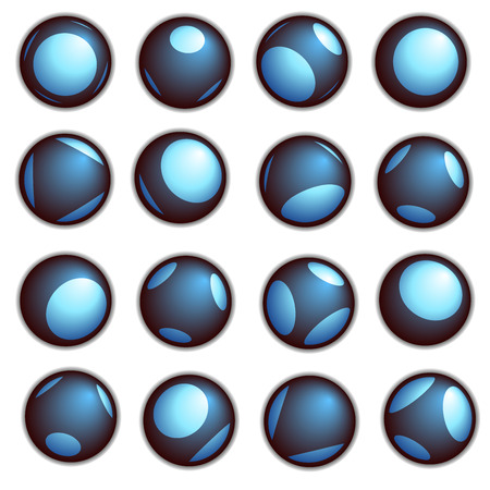bot: techno ball button in blue on a white background Illustration