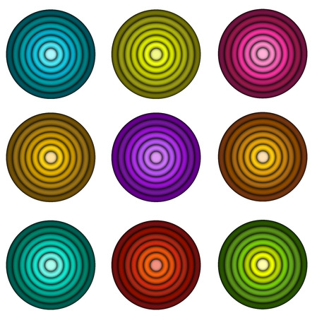 wite: concentric pipe shape in multiple colors over wite