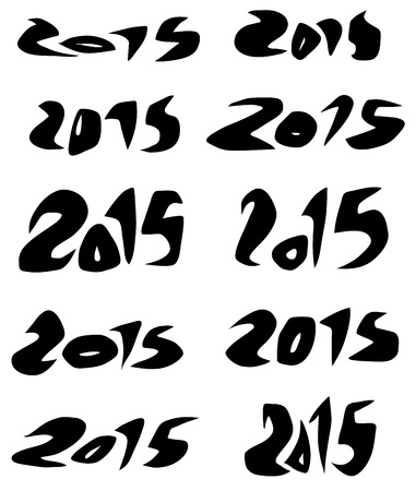 organic fluid: 2015 date in black organic fluid fonts over white