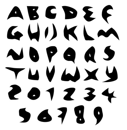 tagging: creepy alphabet sharp vector fonts in black over white
