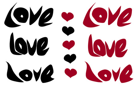 coupling: love word and heart in black red over white Illustration
