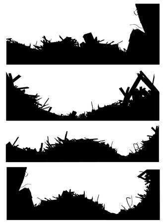 abandon: silhouette set of a demolition site industrial skyline