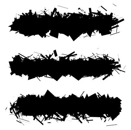 fragmented: fragmented black silhouette rectangular band over white