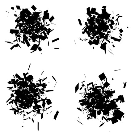 exploded icon black silhouette collection over white Vetores