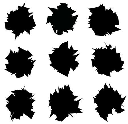 exploded: exploded icon black sharp silhouette collection over white Illustration