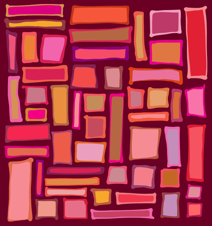 grouping: liquid rectangle and square shapes in red pink orange
