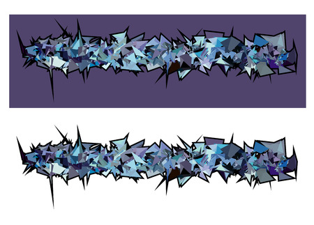 exploded: graffiti abstract purple spiked shape pattern on white