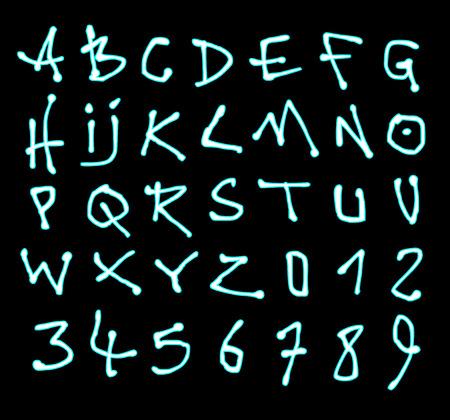 alfabet: liquid font and number neon alphabet over black Illustration