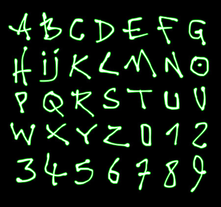 alfabet: liquid font and number green neon alphabet over black Illustration