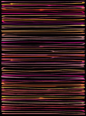 striping: liquid organic orange pink lines pattern over black Illustration
