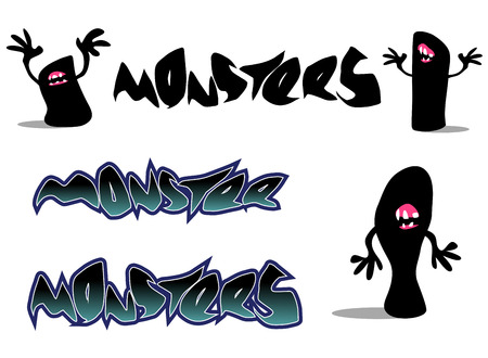 creepy monster font and character over white Illustration