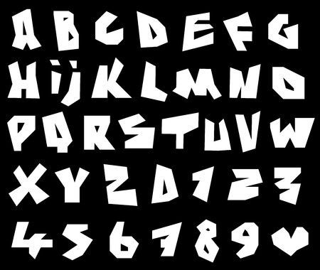 brute: paper cut font and number alphabet in white over black Illustration