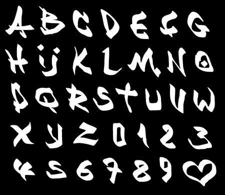 alfabet: graffiti marker font and number alphabet over black