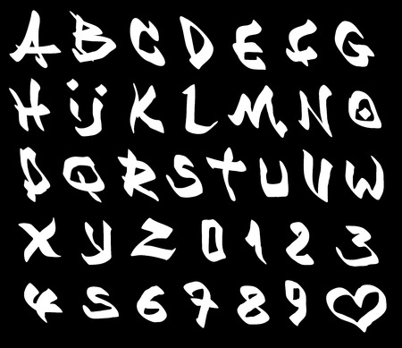 graffiti marker font and number alphabet over black