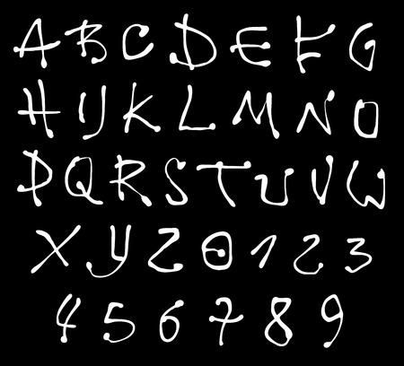 alfabet: white liquid font and number alphabet over black Illustration