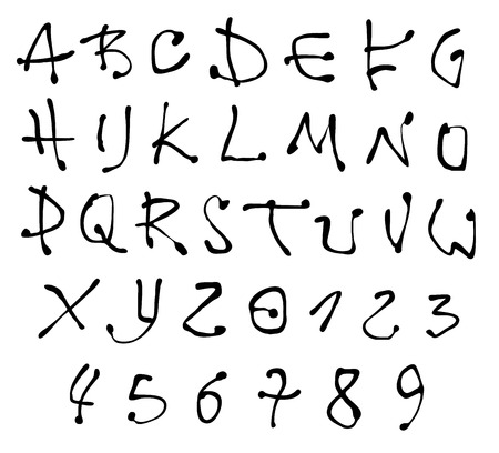 alfabet: ink font and number alphabet over white