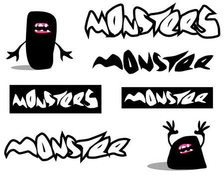 creepy monster: creepy monster font and character over white Illustration