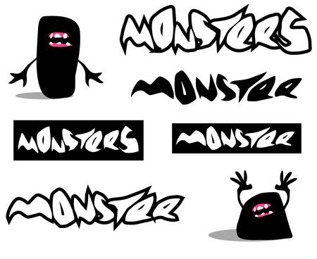 creepy monster: carattere mostro raccapricciante e il carattere su bianco
