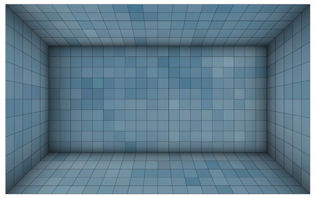 subdivided: empty futuristic room with blue mosaic walls Illustration