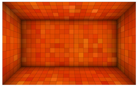 intersect: empty futuristic room with red orange walls and subdivision