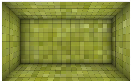 intersect: empty futuristic room with green walls and subdivision Illustration